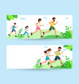 happy family on jogging banner father mother vector image vector image