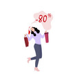 happy woman with purchases pack vector image vector image