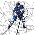 Ice hockey player in blue and white dress vector image vector image