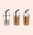 iced coffee with ice and cream doodle drawing vector image