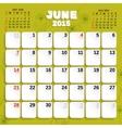 June Month Calendar 2015 vector image vector image