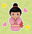 kokeshi doll cute hearts background vector image
