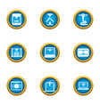 land development icons set flat style vector image vector image