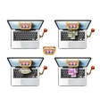 laptop casino game a collection colored icons vector image