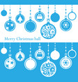 merry christmas ball cutted from paper on blue vector image vector image