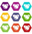 molecule reaction icons set 9 vector image vector image