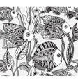 monochrome seamless sea pattern with tropical vector image
