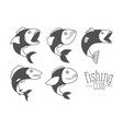 monochrome silhouette types fish and logo text vector image