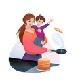 mother cooks family breakfast food vector image