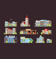 municipal buildings school church gas station vector image