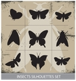 Nature butterflies silhouettes sign set vector image vector image