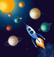 rocket flying above clouds vector image