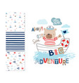 sailor bear and 3 seamless patterns vector image vector image