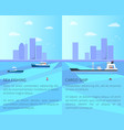 sea fishing and cargo ship vector image vector image