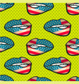 seamless pattern of lips pop art vector image