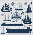 set of sailing ships yachts and tankers vector image vector image