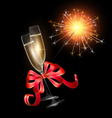 sparkler with two glasses of champagne vector image vector image