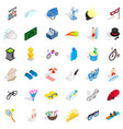 summer activity icons set isometric style vector image vector image