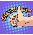 Thumbs up hitchhiking symbol and approval vector image