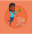 woman running in hurry to the store on sale vector image vector image