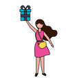 young woman holding party gift box vector image