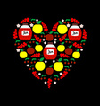Heart from Fruits and Jars with Jam Apples Cherry vector image