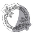 silhouette round emblem with oval roses icon vector image
