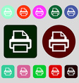 Print sign icon Printing symbol 12 colored buttons vector image