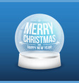 christmas glass snow ball isolated on blue vector image