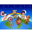 Kids from all over the world vector image