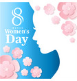 8 march womens day woman shadow flower blue backgr vector image