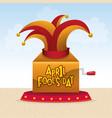 april fools day hat joker box vector image vector image