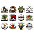 baseball sport players balls bats and trophy cup vector image vector image