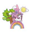 beautiful fairytale castle with rainbow vector image vector image