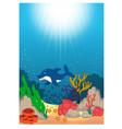 beautiful underwater world cartoon vector image vector image