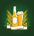 beer bottle and glass with beer and ribbon vector image