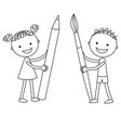boy and girl standing opposite each other vector image