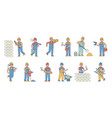 builders flat line people character vector image