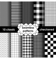 Checkered fabric seamless pattern black and white vector image vector image