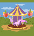 colorful carousel with horses merry go round in vector image
