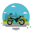colorful poster of transport with motorcycle on vector image