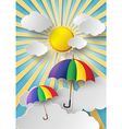 colorful umbrella with sun vector image vector image