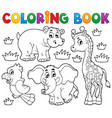 coloring book african fauna 1 vector image vector image