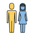 couple business man and woman standing pictogram vector image vector image