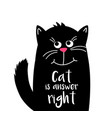 cute cat with text cat is answer right kawaii vector image vector image