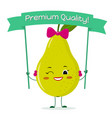 cute pear green cartoon character with bow and vector image vector image