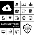Data Encryption Black Icons Composition Banner vector image vector image