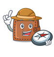 explorer wallet mascot cartoon style vector image