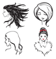 Faces women monochrome vector image vector image