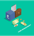 fund management isometric concept vector image
